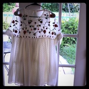 Zara white embroidered dress